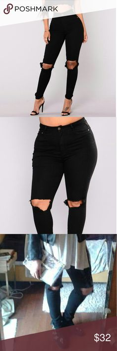 """Plus sz destroyed black skinnies NWT, BLACK. This is a 1X; I would recommend them to someone who is a size 14 or 16. Very stretchy high-waisted and sexy as hell. Photo number three is of me wearing my own pair ;) inseam is approximately 31"""". Fashion Nova Jeans Skinny"""