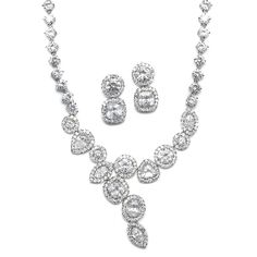 Breathtaking CZ Bridal Necklace and Earrings Set