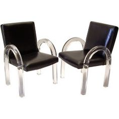 Pair of 1970s Lucite and Black Leather Chairs