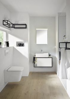 burgbad Junit - Small bathroom with mirror cabinet and bathroom furniture in white. Bathroom Cost, Bathroom Sink Tops, Guest Bathrooms, Bathroom Toilets, Small Bathroom, Bad Inspiration, Bathroom Inspiration, Lavabo Design, Bathroom Design Layout