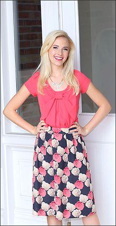 Bow shirt and  Mika rose gathered waist rose print skirt
