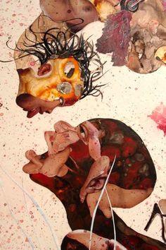 (Wangechi Mutu) Dit werk doet me denken aan picasso, het gezicht is niet zoals het hoort te zijn. Het is een werk over strijd omdat je ziet dat de onderste (donkerst afgebeelde persoon dat daardoor gelijk het meest benadrukt word) het lijkt op te nemen tegen de andere kleiner afgebeelde persoon. In deze compositie zijn vooral warme secundaire kleuren gebruikt.