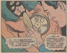 Superman #330 The Master Mesmerizer of Metropolis! December 1978.  The highly delicate and blatantly obvious Clark Kent disguise was almost brought down like a house of cards after forty years by a guy who ran around with a portable record player in his costume, using a sound effects album to hypnotize his victims!