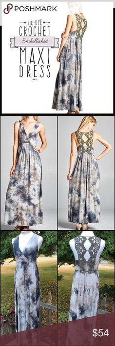 Tie-Dye Maxi Beautiful maxi dress in a lovely tie-dye pattern with rich hues of olive, gray, and navy. Added are the perfect finishing touches- a flattering cross-neckline and very high quality crocheted racer-back in olive. Dress perfection! Boutique Dresses