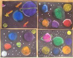 Chalk Pastels: planets