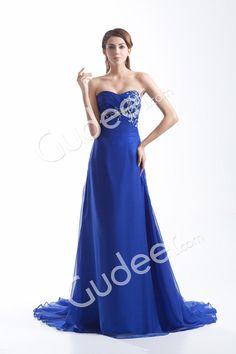 royal blue chiffon strapless floor length sweep train evening prom dress from gudeer.com