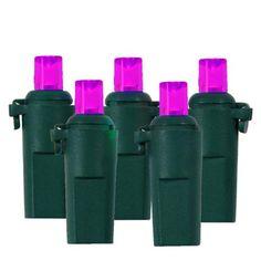 Set of 60 Pinkish-Purple LED Wide Angle Christmas Lights - Green Wire