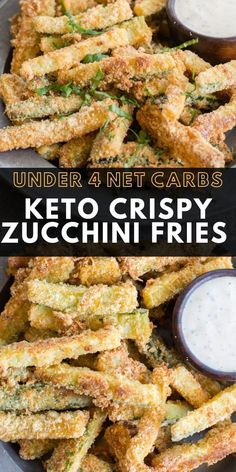 These Crispy Zucchini Fries are breaded with almond flour, parmesan and spices and baked until perfectly crispy! The perfect keto, low carb side dish! #keto #lowcarb