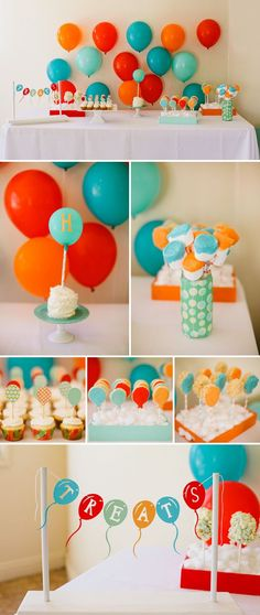 Super cute balloon themed dessert table by Joyful Joyful Designs. All of the desserts are like little balloons. love this color scheme Baby First Birthday, Boy Birthday Parties, Birthday Balloons, Birthday Fun, Birthday Ideas, Happy Balloons, Festa Party, Colorful Party, First Birthdays
