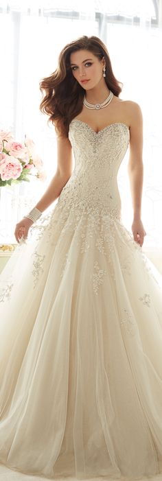 Sophia Tolli is a designer wedding dress line that features incredibly romantic wedding dresses from charming A-line silhouettes to classic high necklines. Sophia Tolli wedding dresses will make your wedding day feel even more magical. 2016 Wedding Dresses, Wedding Attire, Bridal Dresses, Wedding Gowns, Bridesmaid Dresses, Dresses Dresses, Formal Dresses, Wedding Reception, Pnina Tornai