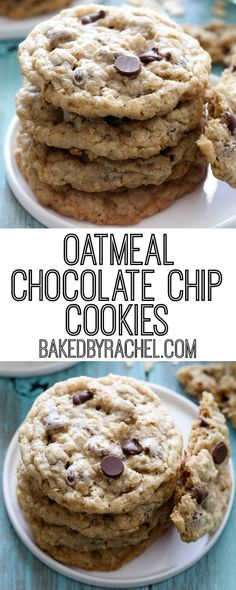 Soft and chewy oatmeal chocolate chip cookie recipe from Rachel {Baked by Rachel. Soft and chewy oatmeal chocolate chip cookie recipe from Rachel {Baked by Rachel} Just Desserts, Delicious Desserts, Dessert Recipes, Yummy Food, Tasty, Cookies Cupcake, Sugar Cookies, Brownie Cookies, Cookies Receta