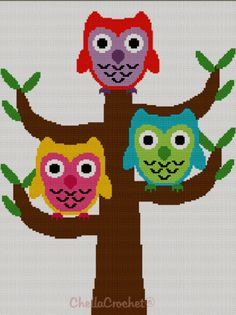 Owls in Tree Blanket Afghan Crochet Knit Cross Stitch Pattern Graph | chellacrochet - Patterns on ArtFire