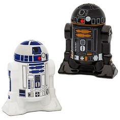 These Star Wars Droid Salt & Pepper Shakers will spice up the dinner table and add some Star Wars flair to your seasonings.  What could be better than R2-D2 & R2-Q5 pouring out the Salt & Pepper? Each is refillable with pl