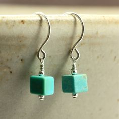 Petite turquoise earrings! Very southwestern! Turquoise Cube Earrings with Sterling Silver by SandCanyonJewelryLLC on Etsy. #turquoisejewelry