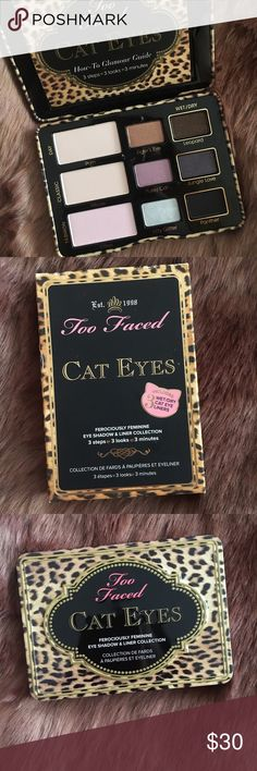 Too Faced Cat Eyes Shadow Palette Brand new Too Faced Cat Eyes eyeshadow palette. Hasn't been used or swatched! Comes in the original packaging as well! Every purchase comes with a free makeup sample! Too Faced Makeup Eyeshadow