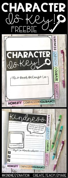 """This """"Character Is Key"""" Tab Book was designed to teach students about different character traits related to kindness and tolerance. It covers 7 character traits, and allows students to explore these traits and reflect on what these traits mean to them, an"""
