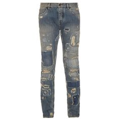 Dolce & Gabbana Distressed patchwork slim-fit jeans (7,245 EGP) ❤ liked on Polyvore featuring men's fashion, men's clothing, men's jeans, blue multi, mens ripped jeans, mens faded jeans, mens slim jeans, dolce gabbana mens jeans and mens patchwork jeans