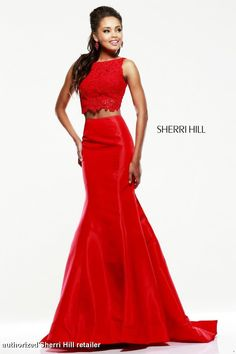 Sherri Hill Prom Dress 21372 - A Two-piece gown with beautiful lace top and mermaid fitted bottom, available in multiple colors.  QueensChoice.com