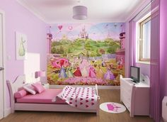 Bedroom, The Beautiful Design Of Bedroom Decorating Ideas For Teenage Girls With Purple Color Of Wall Also With Charming Wallpaper And White Glass Window Also Pendant Lamp ~ The Best Idea About How To Decorate A Bedroom For A Teenage Girl With Charming Design
