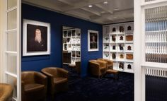 An Indigo accent wall creates a sense of luxury in the design scheme at Joseph Cheaney's London flagship store. #FieldNotes #JosephCheaney #indigo #interiors #store #styling