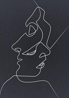 Ideas for doodle art ideas sketches products Art Abstrait Ligne, Art Sketches, Art Drawings, Drawing Faces, Contour Drawings, Portrait Sketches, Kiss Illustration, Art Illustrations, Plakat Design