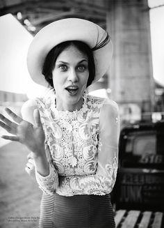 russh magazine's nowhere else shoot - Collette Dinnigan blouse; Yeojin Bae skirt and bra; Maison Michel hat.