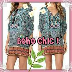 FLASH SALE♥Cute BOHO Mini Dress!♥ ♥Darling with pretty tan legs showing, or worn as a tunic with skinnies or leggings! Pile on bangles and fun long necklaces you will ROCK the BOHO CHIC LOOK!!♥ My Boutique Dresses Mini