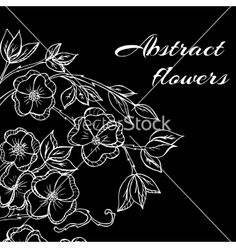 Abstract background with flowers in black and vector  by natalika on VectorStock®