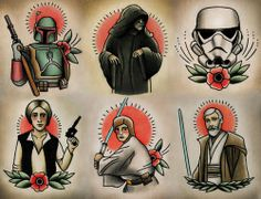star wars characters as classic tattoos. obsessed.