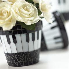 Mosaic Keyboard Flower Pot at The Music Stand