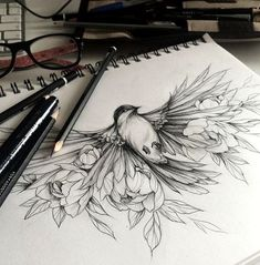 Tattoos Omg this is amazing! I want this so bad! About Albums Along with a very rich album option, all requests are meticulously evaluated. Bird Drawings, Pencil Art Drawings, Art Drawings Sketches, Tattoo Drawings, Cute Tattoos, Body Art Tattoos, New Tattoos, Small Tattoos, Tatouage Plumeria