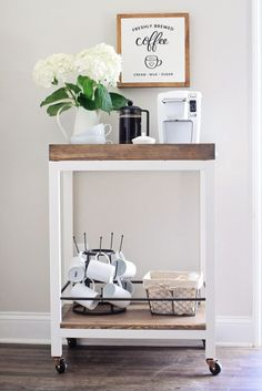 How to build a coffee bar cart DIY and how to style a coffee bar cart. Use this coffee bar cart DIY to provide pretty, functional storage in your kitchen. Diy Bar Cart, Gold Bar Cart, Bar Cart Styling, Bar Cart Decor, Bar Carts, Diy Home Bar, Home Bar Decor, Bars For Home, Coffee Carts