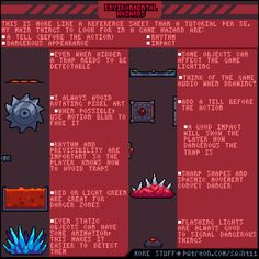 Official Post from Pedro Medeiros: This is not exactly a tutorial, it's more like a reference sheet, so I would recommend you to refer to it when in need for some inspiration for environmental hazards in games. Also, feel free to download this gif and check it frame by frame, that's always a good thing to do.Other useful tutorials: F