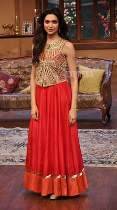 Deepika Padukone looked gorgeous in a red and gold Arpita Mehta creation. (Photo: Varinder Chawla)