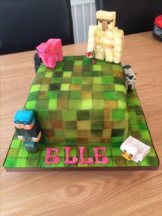 Minecraft Cake Chocolate sponge with chocolate buttercream and handmade marshmallow fondant. Jan 2017