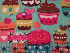 Cupcakes, Sweets, Cakes, Novelty, Cotton, Fabric, Baby, Girls, Kids, Bright, Colorful, Birthday, Diaper Bag, Accessories by EyeCandyQuilts, $1.85