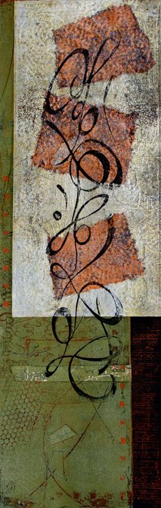 "Falling Up, by Anne Moore, monotype with chine colle, 24"" x 7.75"""