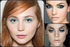 Maquiagem azul para os olhos com lapis