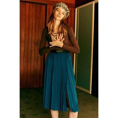 Ecote Anika Pleated Midi Skirt ($79) ❤ liked on Polyvore featuring skirts, teal, pleated midi skirt, fitted midi skirt, brown pleated skirt, calf length skirts and brown skirt