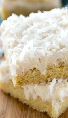 Coconut Sugar Cookie Bars Recipe ~ Full of coconut flavor!