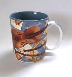 Otagiri Music Mug Violin Musical Notes Instruments Horn Coffee Cup Vintage