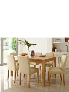 Primo 150 cm Dining Table and 6 Lucca Chairs Set | littlewoods.com