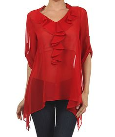 Loving this Red Sheer Ruffle Sidetail Top on #zulily! #zulilyfinds