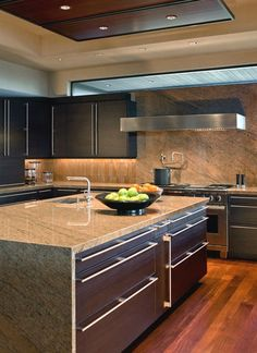 Beautiful Kitchen   Love The Clean Lines Of The Entire Kitchen And Also The  Granite/marble Counter Top And Backsplash!