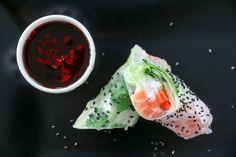 Sommerruller med laks og vermicelli Fresh Rolls, Ethnic Recipes, Food, Essen, Meals, Yemek, Eten
