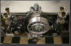 Type1 vw air-cooled engine with carbon porsche style cooling fan.