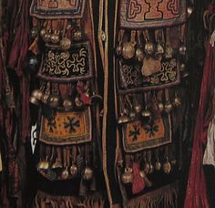 The ornate front detail of a Manjagir Shaman costume.