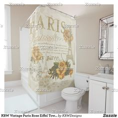 Shop KRW Vintage Paris Rose Eiffel Tower Shower Curtain created by KRWDesigns. Full Color Printing, Powder Room, Shower Curtain, Custom Shower, Printed Shower Curtain, Curtains, Vintage Paris, Vintage Shower Curtains, Vintage