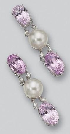 # PAIR OF KUNZITE, CULTURED PEARL AND DIAMOND PENDANT-EARRINGS. The tops set with oval-shaped kunzites supporting cultured pearl and kunzite pendants joined by links set with pairs of small round diamonds, mounted in 18 karat white gold.