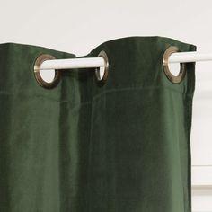 Groen fluwelen FORÊT gordijn met ringen 140 x 300 cm